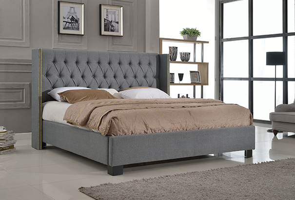 Ezra Upholstered Bed Living Rooms Plus