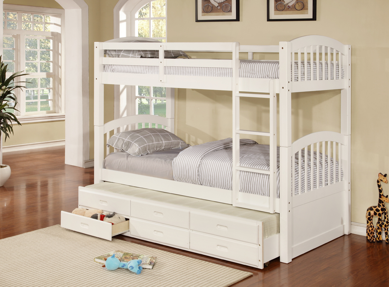Picture of: Trestle Twin Twin Twin Storage Bunkbed Living Rooms Plus
