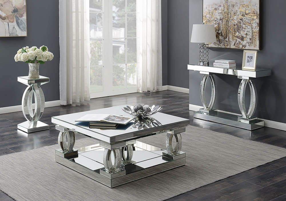 Silhouette Mirrored Coffee Table Set Living Rooms Plus