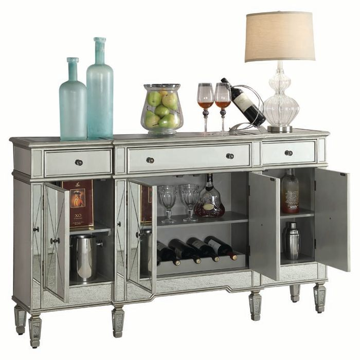 Bevelle Mirrored Accent Cabinet, Mirrored Wine Cabinet